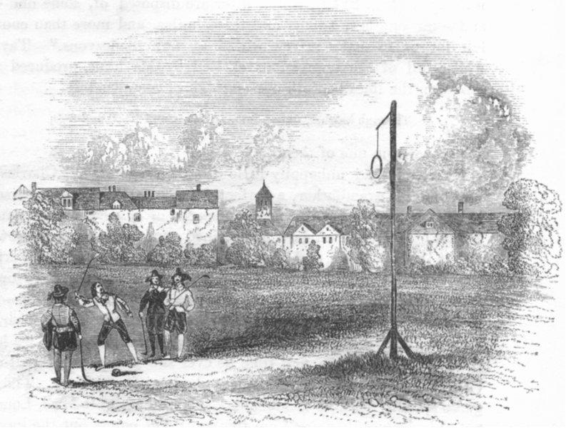 Paul Mall in Saint James Park Antique print 1845