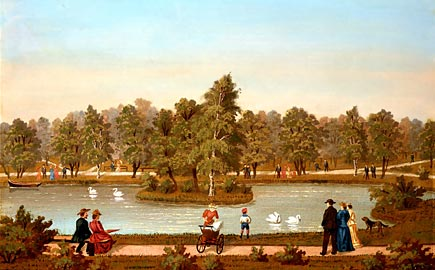 1881 Unknown artist swan lake in K park