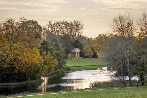 The East Lake Pavilion at Stowe, Buckinghamshire. Stowe is an 18th century landscaped garden, and includes more than 40 historic temples and monuments.